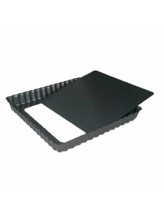 Moule à tarte cannelé carré /Tourtière à bord droit - Fond amovible