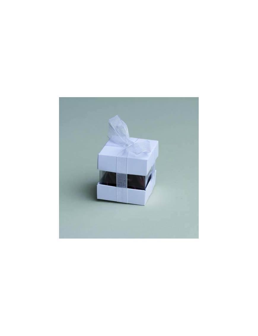 Boîte à dragée cube double blanc