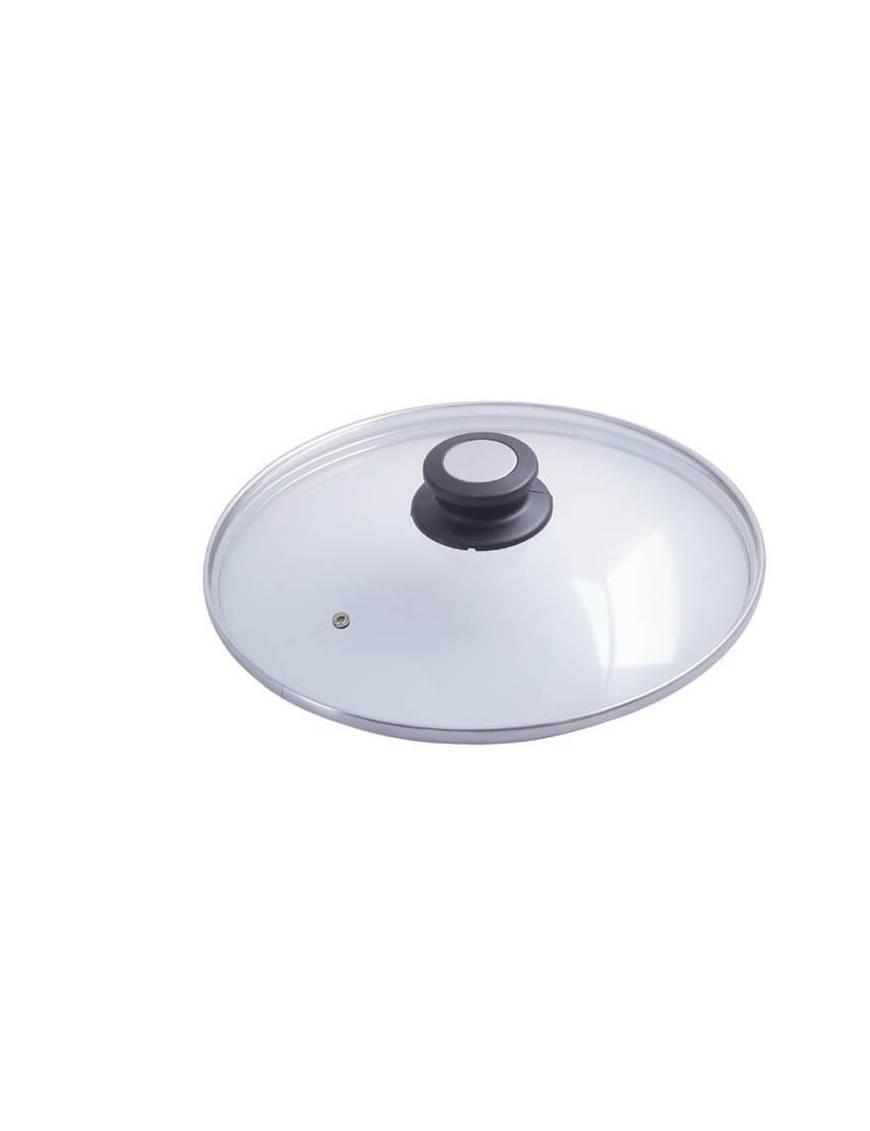 Couvercle en verre cerclé inox avec bouton bakélite/inox - De Buyer