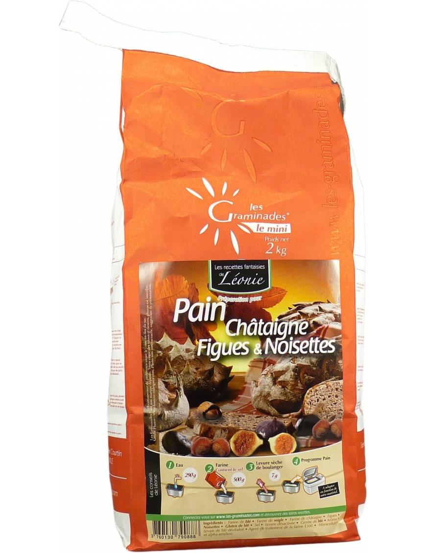 Préparation pour pain au châtaigne, figues et noisettes les Graminades - Sac de 2kg