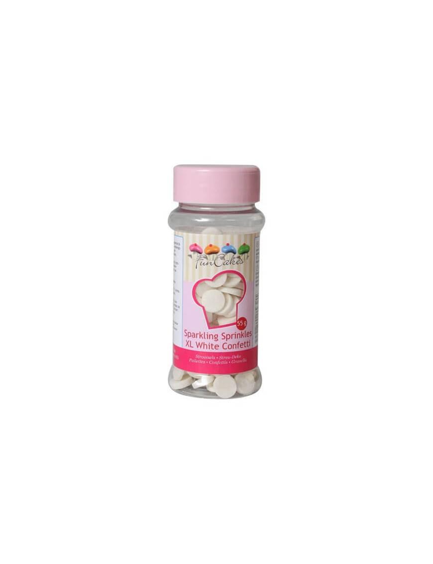 Confettis blancs avec paillettes XL en sucre Boite 55 g