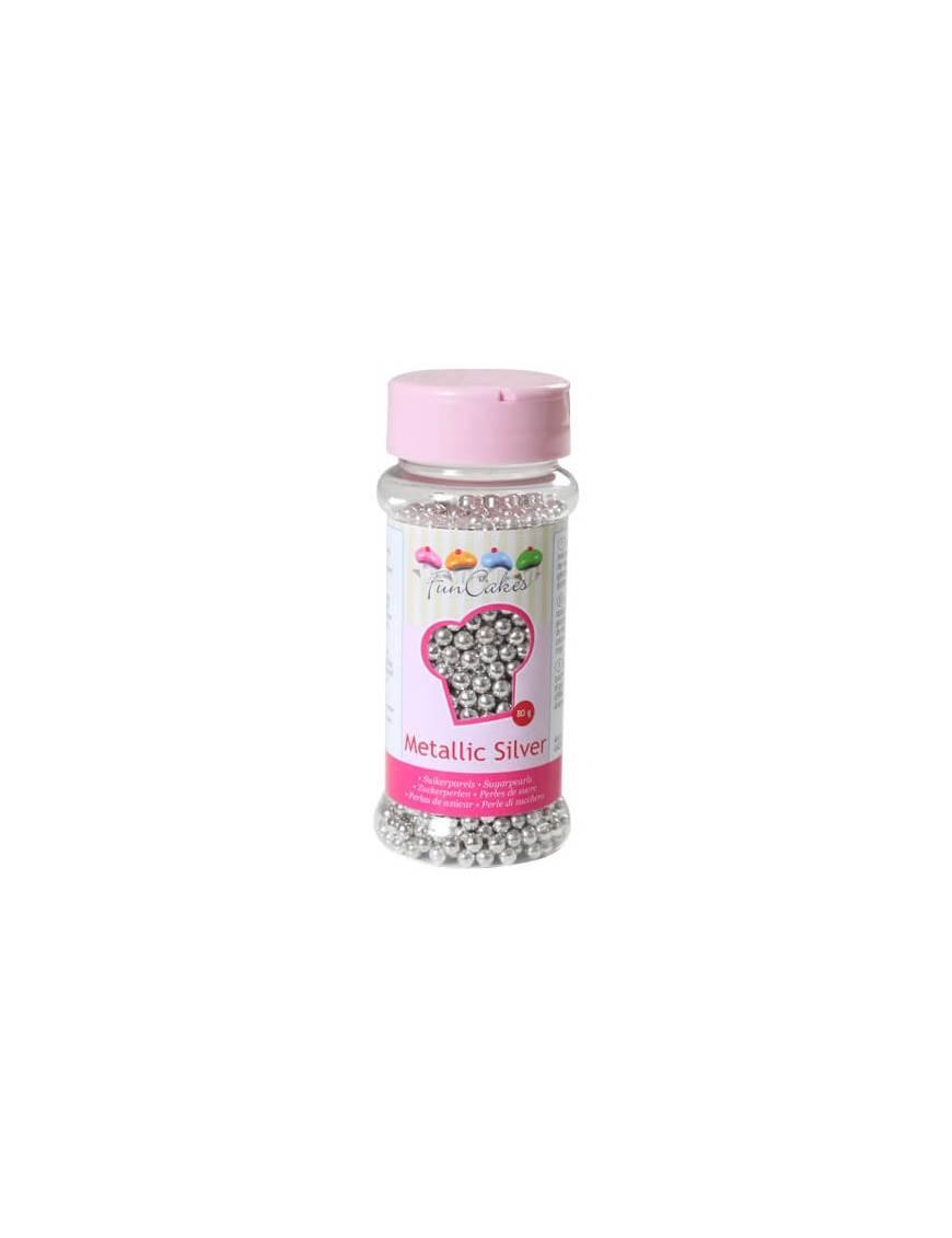 Perle de sucre en Argent métallisée Boite de 80 g