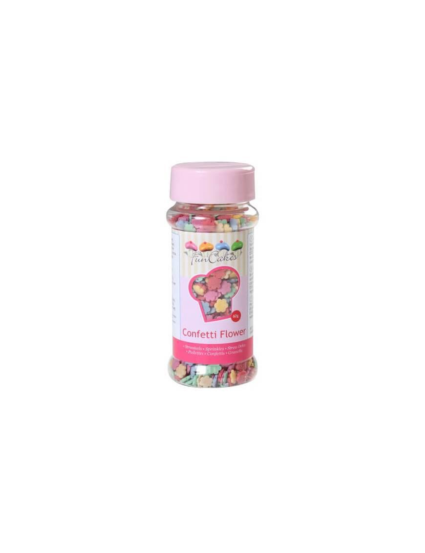 Confetti en sucre Fleurs multicolores Boite 60 g