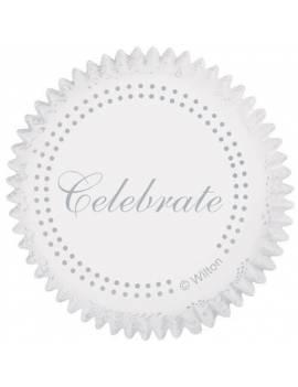 """Caissette en papier """"Celebrate"""" Blanche et argentée x75"""