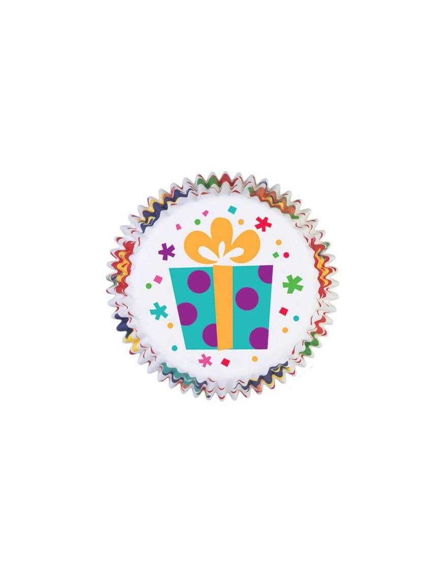 """Caissette Cupcakes en papier """"Anniversaire"""" x75"""