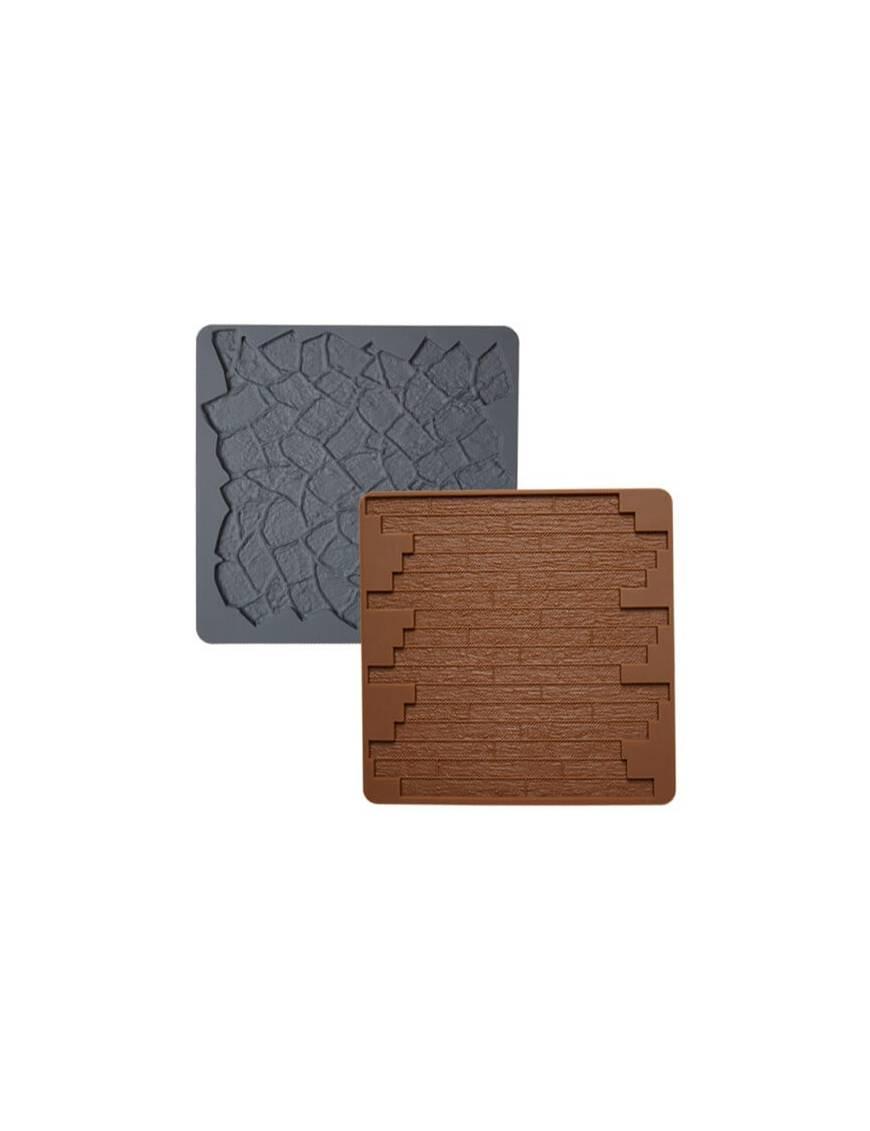Moule en silicone pour pâte a sucre Texture bois et pierres