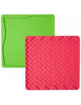 Moule en silicone pour pâte a sucre Texture gazon et briques