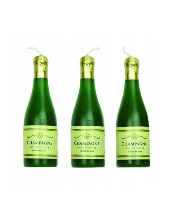 Bougies forme de bouteille de champagne x6
