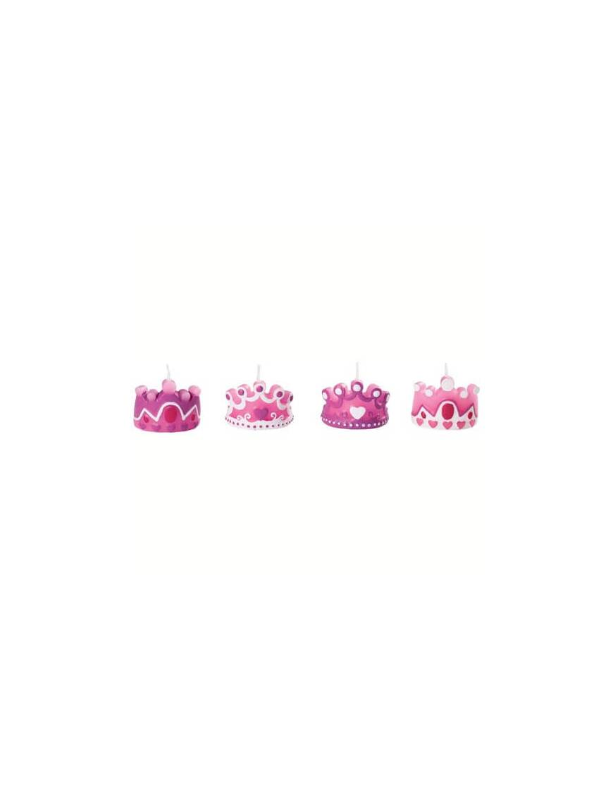 Bougies en forme de couronnes de princesse x4