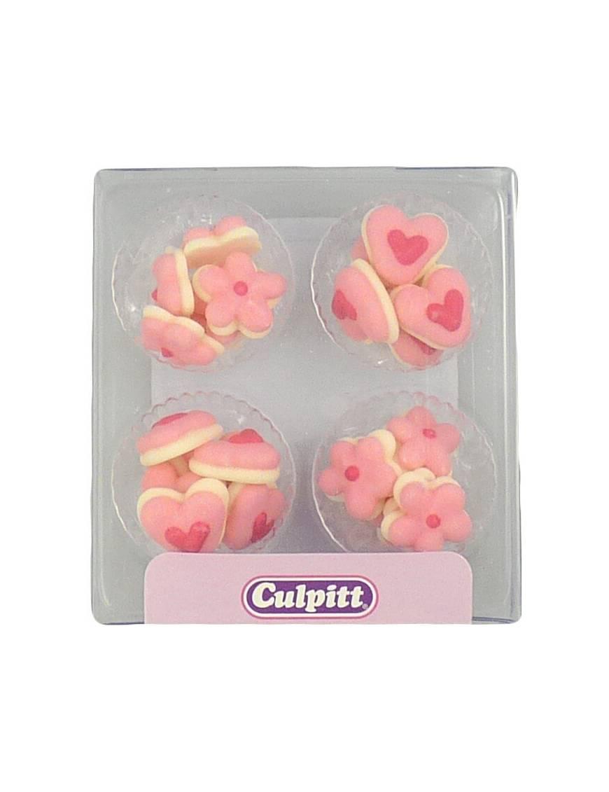 Mini fleur en sucre rose x100