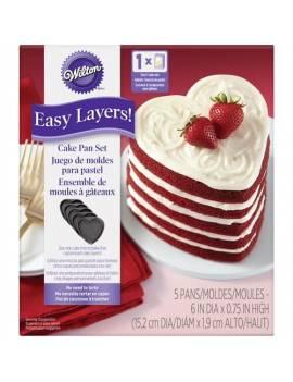 Kit de 5 moules à gâteaux anti-adhésifs Coeur