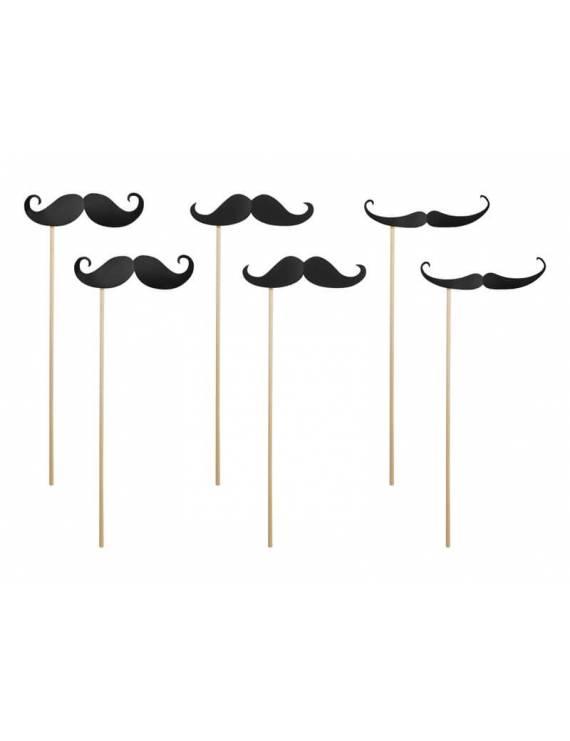 Lot de 6 Photobooth Moustache