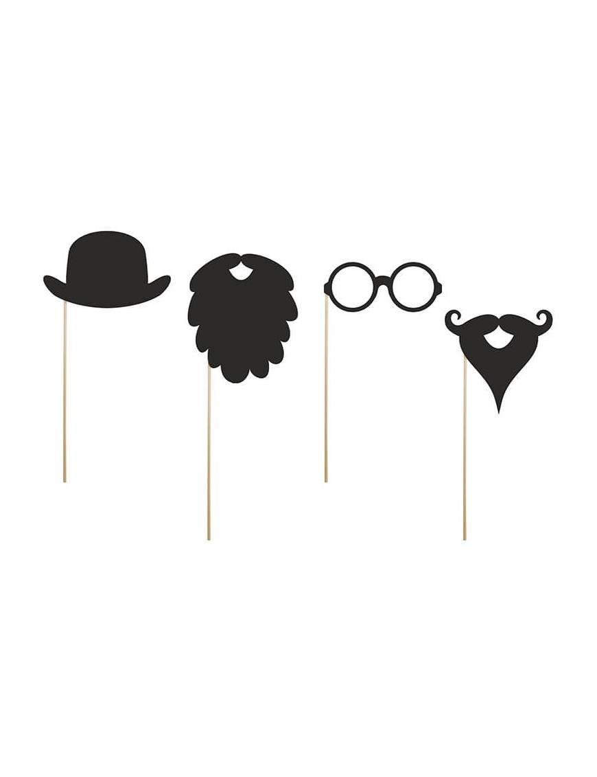 Lot de 4 accessoires photobooth barbes, lunette, chapeau