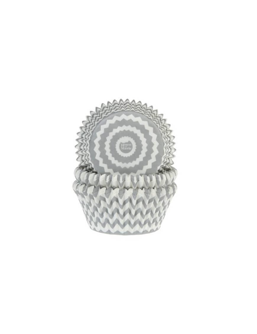 Caissettes Cupcakes rayures brisées grises.  x50