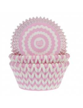 Caissettes Cupcakes rayures brisées roses x50