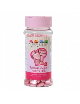Confetti en sucre Coeurs roses et blanc Boite 60 g