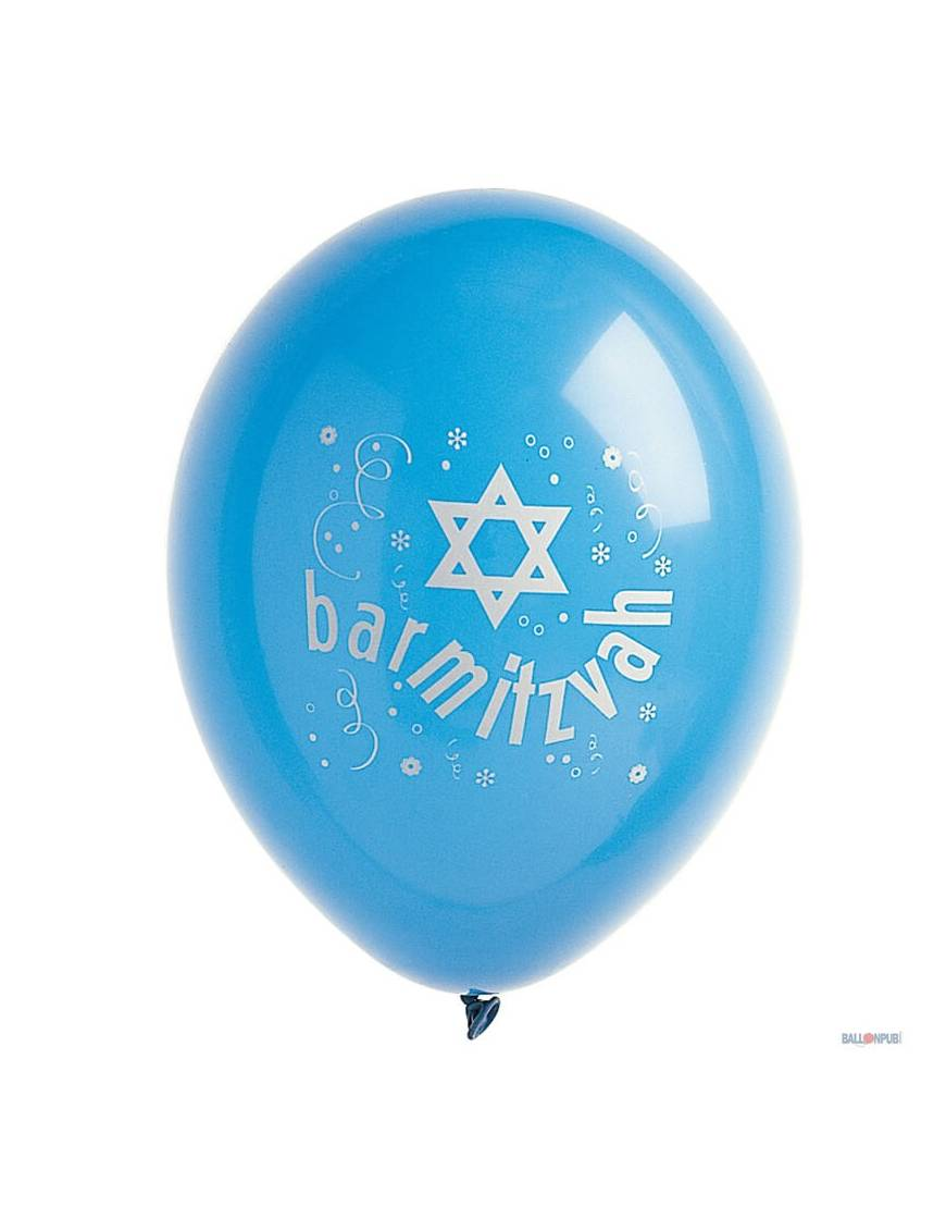 "Sachet de 10 ballons de baudruches opaques ""Batmitvah"""