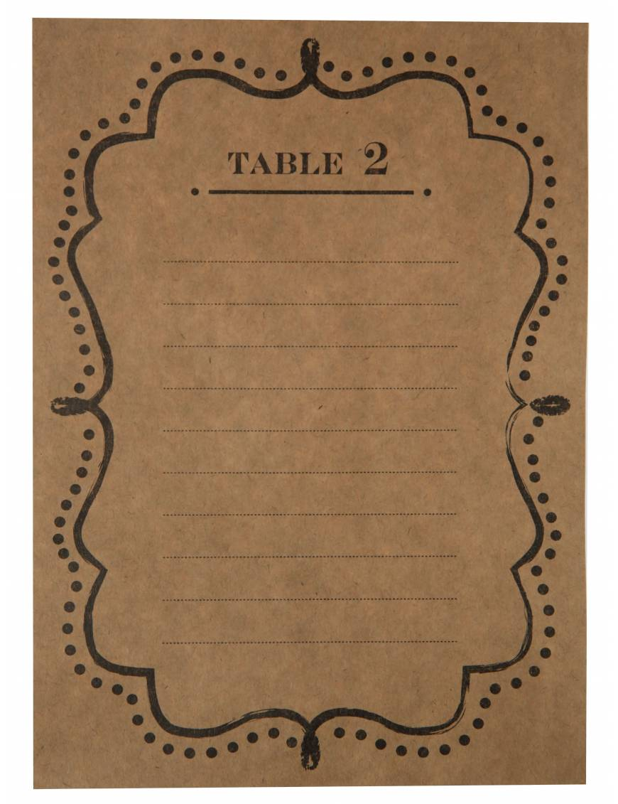 Plan de table kraft de 1 à 10
