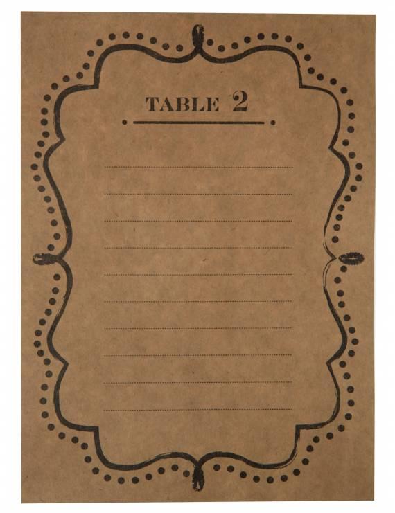 Plan de table kraft de 1 à 10