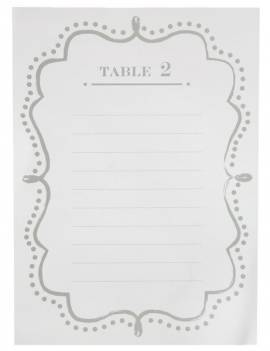 Plan de table blanc de 1 à 10