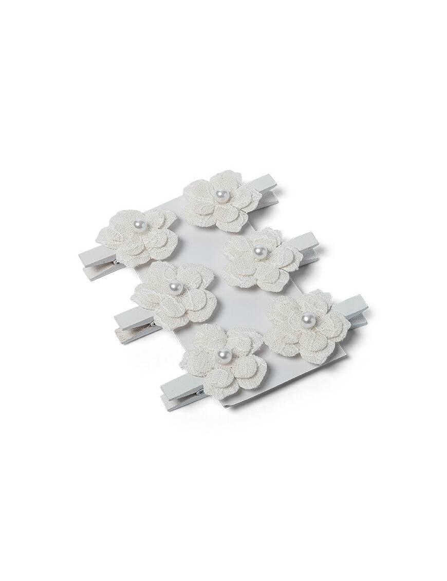 Fleurs Adhésives en lin et dentelle x6 pièces