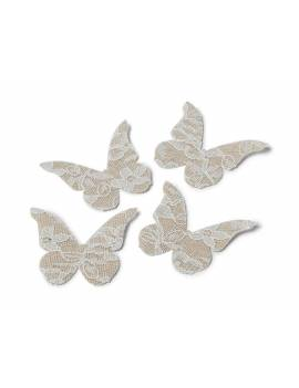 Papillons en lin et dentelle x24 pièces