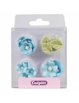 Kit décorations Fleurs bleues et Feuilles en sucre