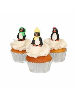 Figurine en sucre 3D pingouin x3 - FunCakes
