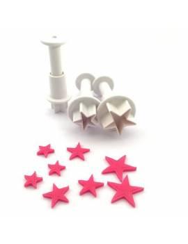 Lot de 3 Découpoirs Poussoirs Étoiles - CakeSupplies