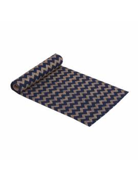 Chemin de Table en Lin Bleu Marine Chevrons Or