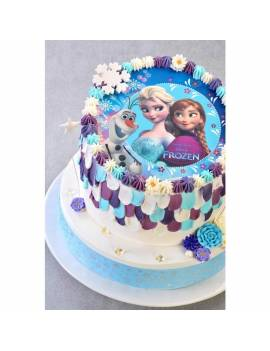 """Disque à gâteau """"La Reine des Neiges"""" sans sucre - Ø 18,5cm"""