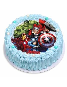 """Disque à gâteau """"Avengers"""" sans sucre - Ø 18,5cm"""