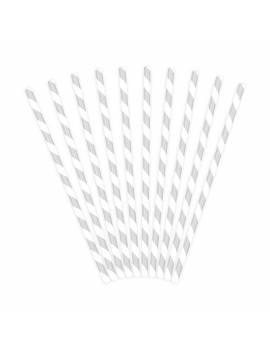 Pailles à rayures x10 - PartyDeco