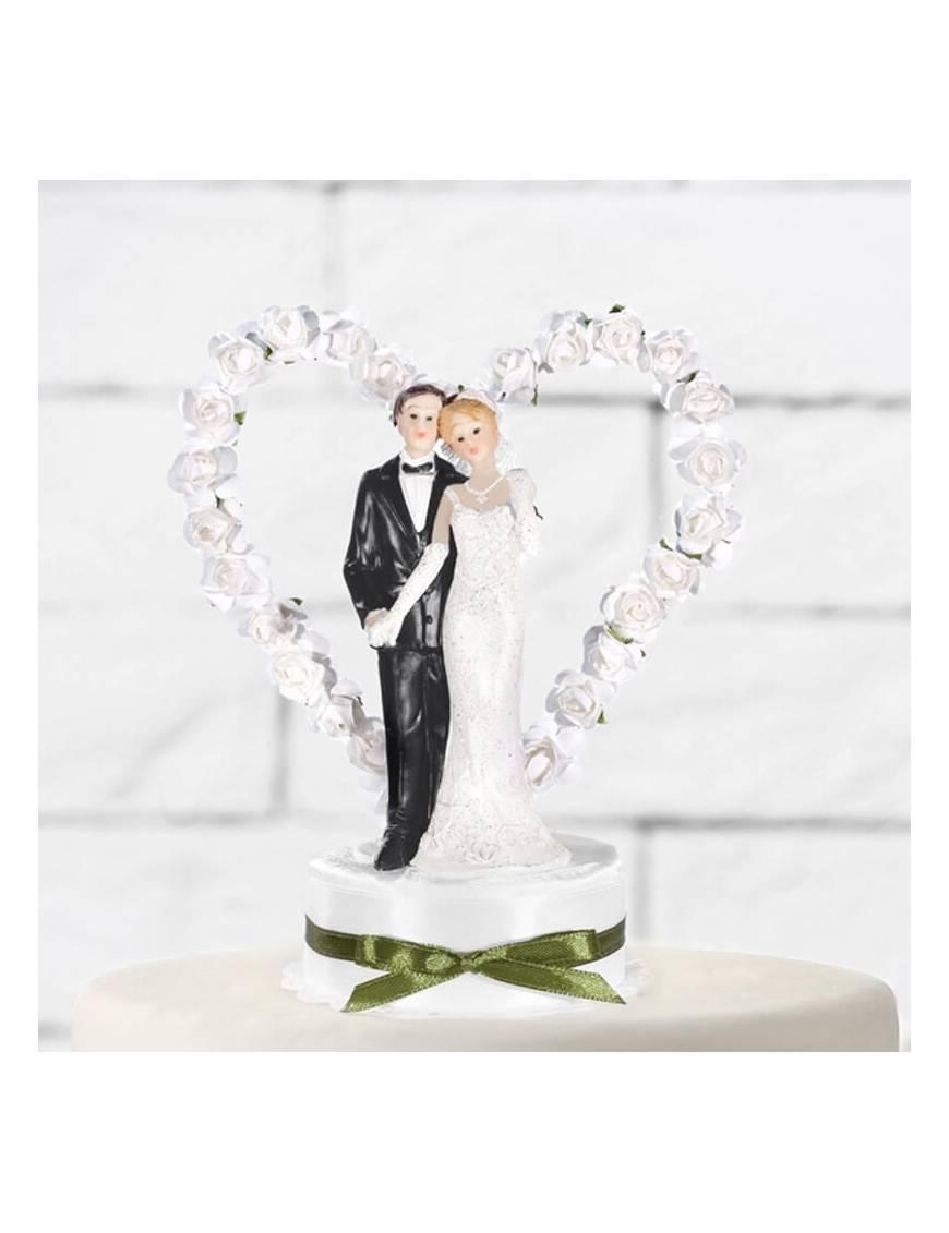 Couple Mariés Coeur Fleurs Blanches