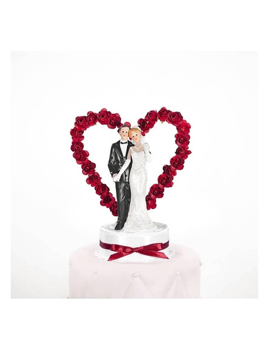 Couple Mariés Coeur Fleurs Rouges