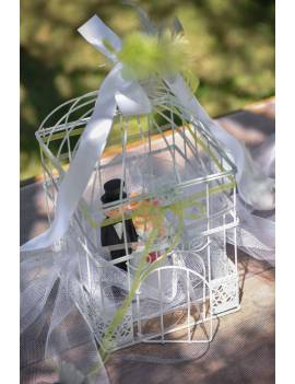 Tirelire cage carrée métal blanc - Santex
