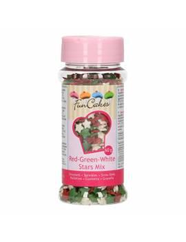 Décor sucre mix étoile blanc/rouge/vert - Funcakes
