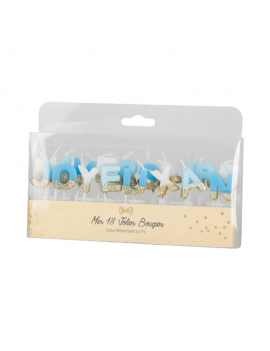 Bougies Joyeux Anniversaire blanc/bleu et paillette or