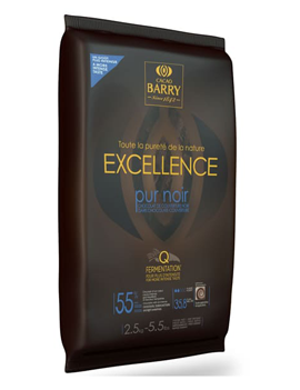 Chocolat de couverture noir Excellence 55% plaque 2.5 Kg - Cacao Barry