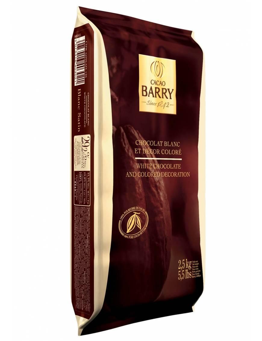 Chocolat de couverture Blanc Satin 29% Cacao Barry plaque 2.5 KG
