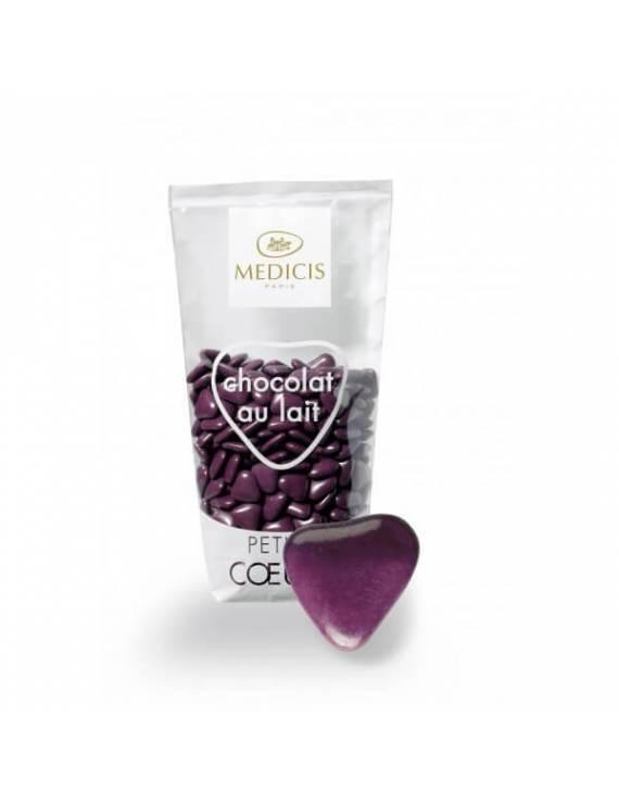 Petits coeurs chocolat au lait Médicis - Prune - 250 gr