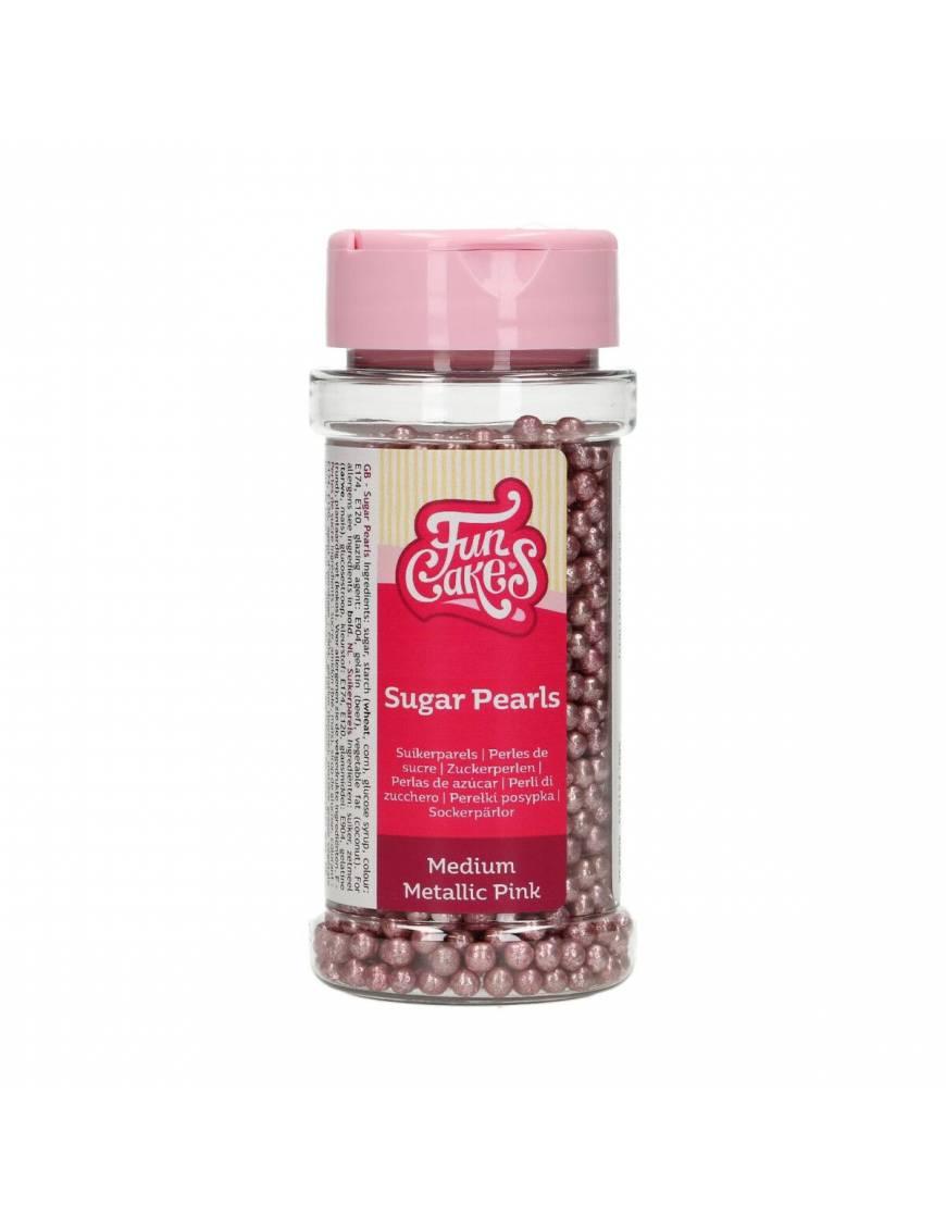 Décors sucre billes métalliques rose - FunCakes