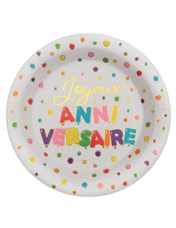 """Assiette """"Joyeux Anniversaire"""" x10"""
