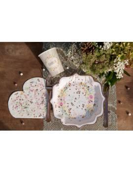 Assiette mariage fleuri x10