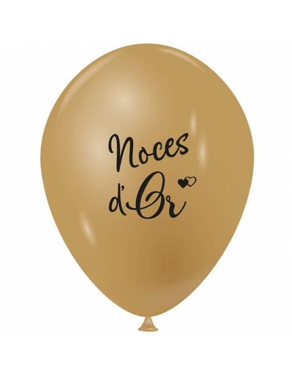 """Sachet de 10 ballons de baudruches nacré """"Noces d'Or"""""""