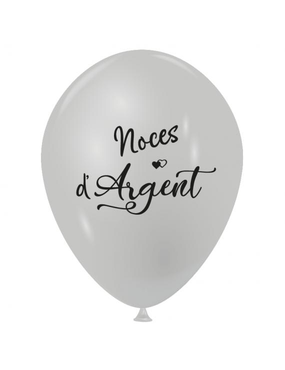 """Sachet de 10 ballons de baudruches nacré """"Noces d'Argent"""""""
